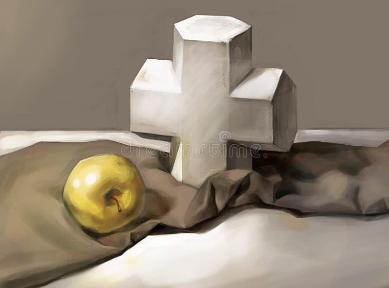 Ilustracja krzyż i Apple ilustracja wektor