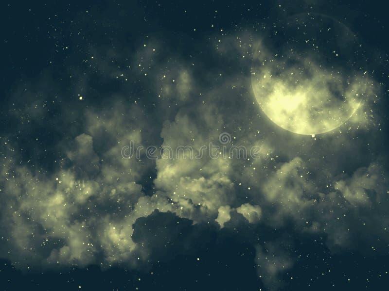 ilustracja ksi??yc w pe?ni Ciemny nocne niebo obraz royalty free