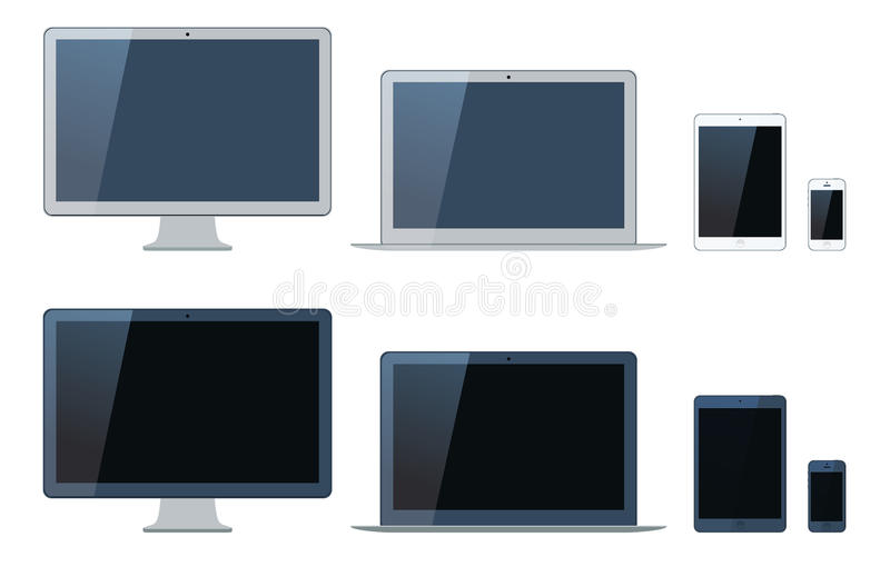 Ilustracja laptop, pastylka komputer, monitor i mobi, royalty ilustracja