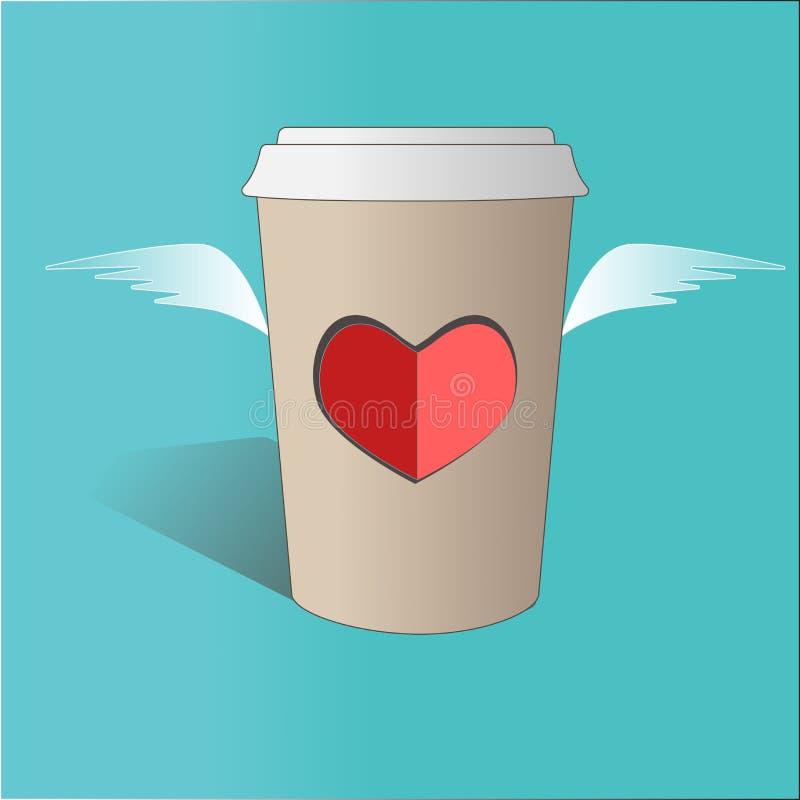 Ilustracja latanie papieru filiżanka z sercem i skrzydłami na błękitnym tle dostępny karciany dzień kartoteki valentines wektor ilustracja wektor