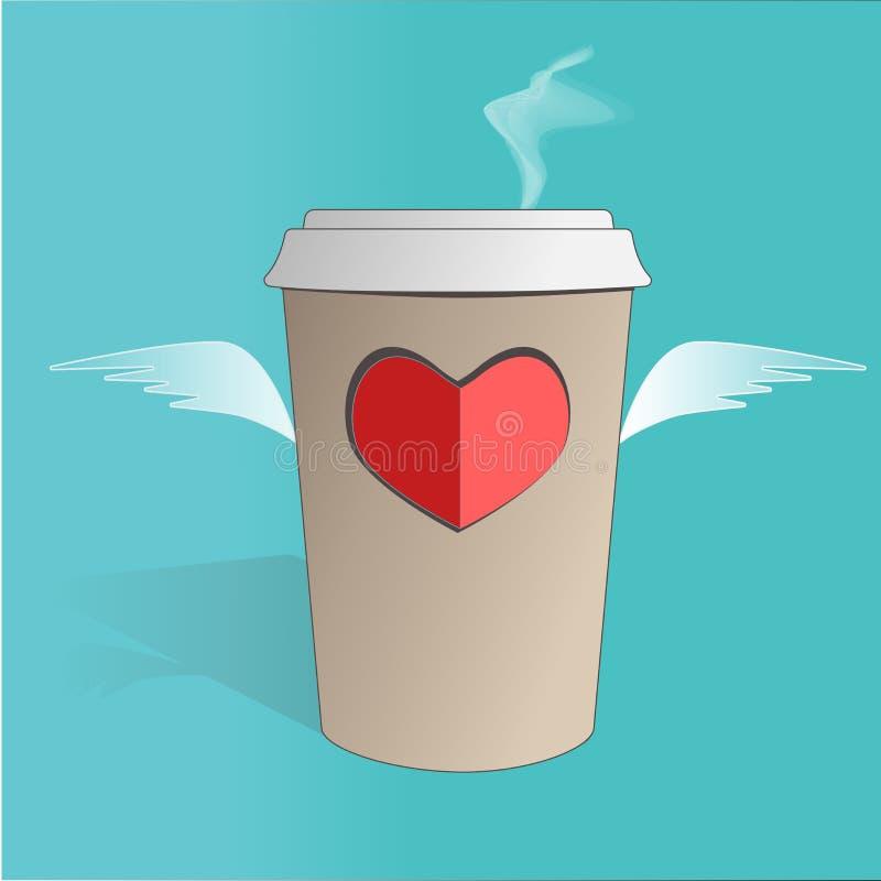 Ilustracja latanie papieru fili?anka z sercem i skrzyd?ami na b??kitnym tle dost?pny karciany dzie? kartoteki valentines wektor ilustracja wektor