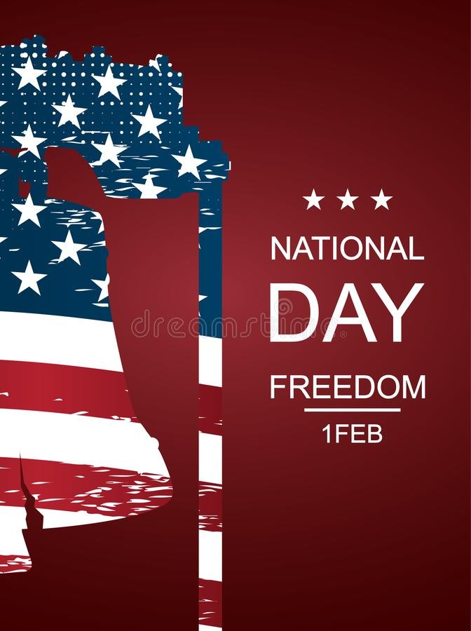 Ilustracja Liberty Bell Plakata lub sztandarów †na Krajowym wolność dniu '! - Luty 1st ilustracji
