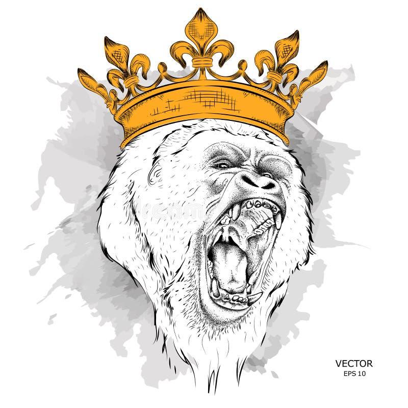 Ilustracja lider paczka goryle agresywna małpa również zwrócić corel ilustracji wektora royalty ilustracja