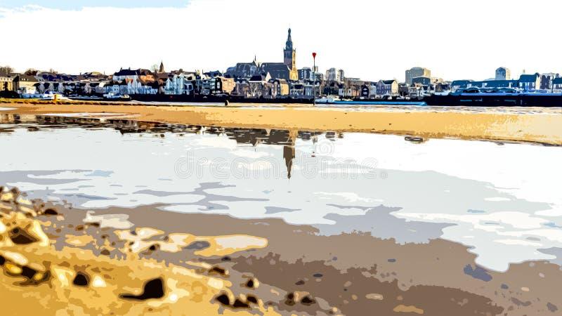 Ilustracja linii wieżowej miasta Nijmegen z odbiciem w rzece Waal w Holandii fotografia royalty free