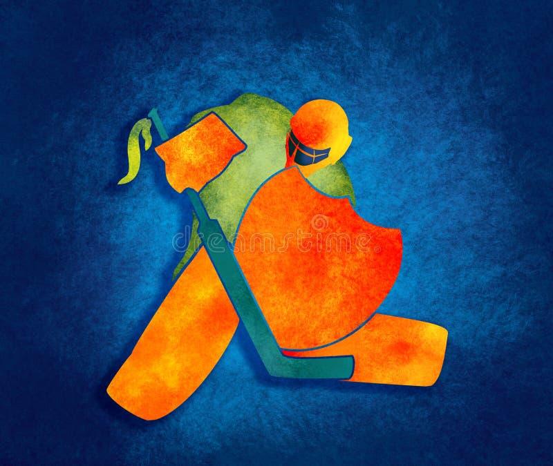 Ilustracja lodowego hokeja bramkarz z rycerz osłoną ilustracji