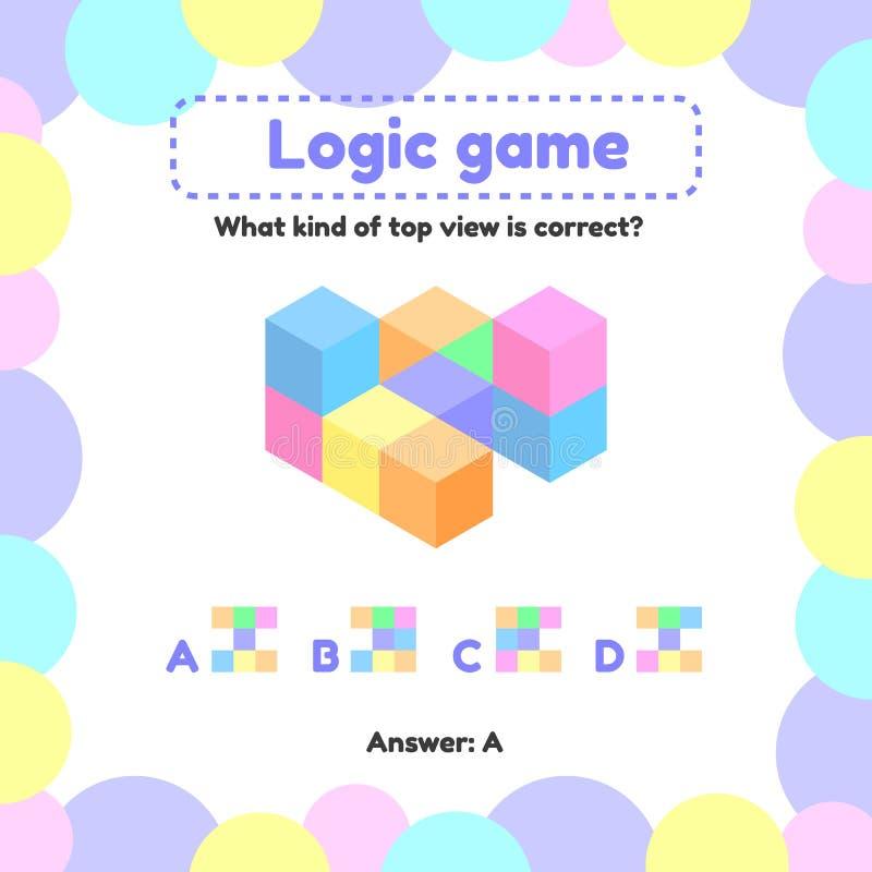 ilustracja Logiki gra dla preschool i szkolnych pełnoletnich dzieci co jest widokiem od odgórnego dobra royalty ilustracja