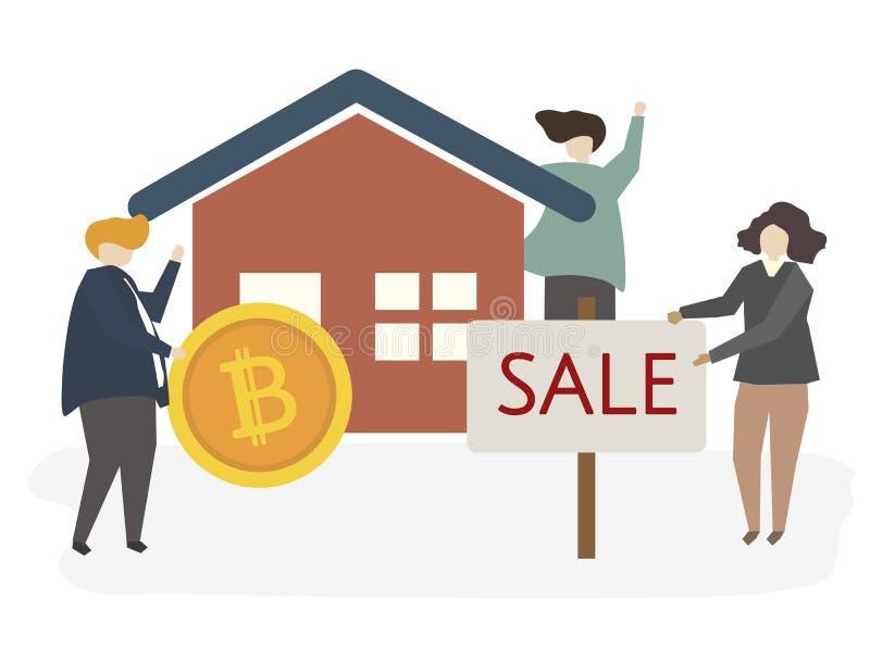 Ilustracja ludzie sprzedaje dom royalty ilustracja