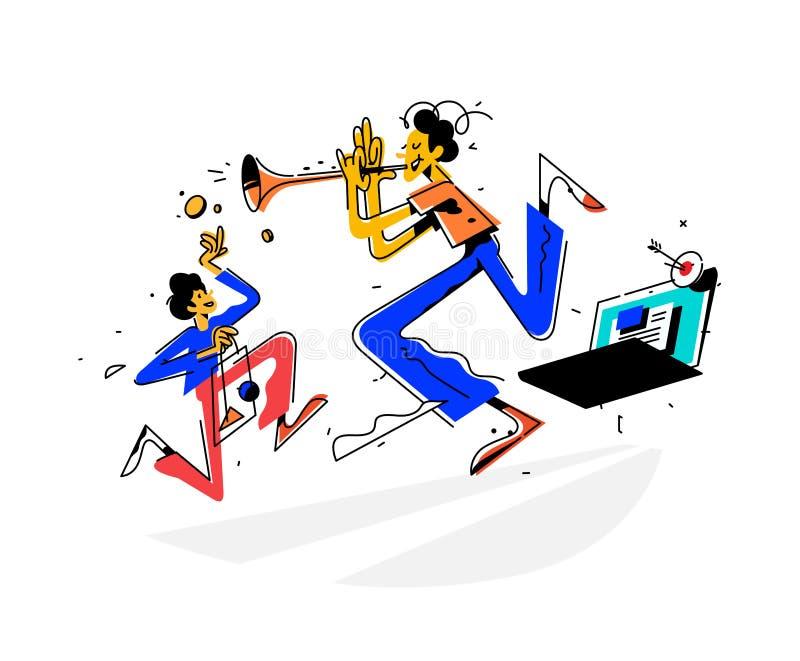 Ilustracja mężczyzna bawić się trąbkę i przyciąga klientów miejsce wektor Jaskrawy rocznika wizerunek metafora royalty ilustracja