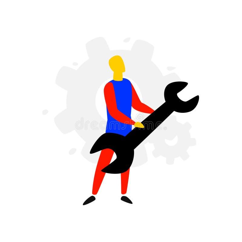 Ilustracja mężczyzna z spanner wektor Mieszkanie styl Naprawa i utrzymanie wyposażenie Gwarantowani naprawianie przyrząda Logo dl royalty ilustracja