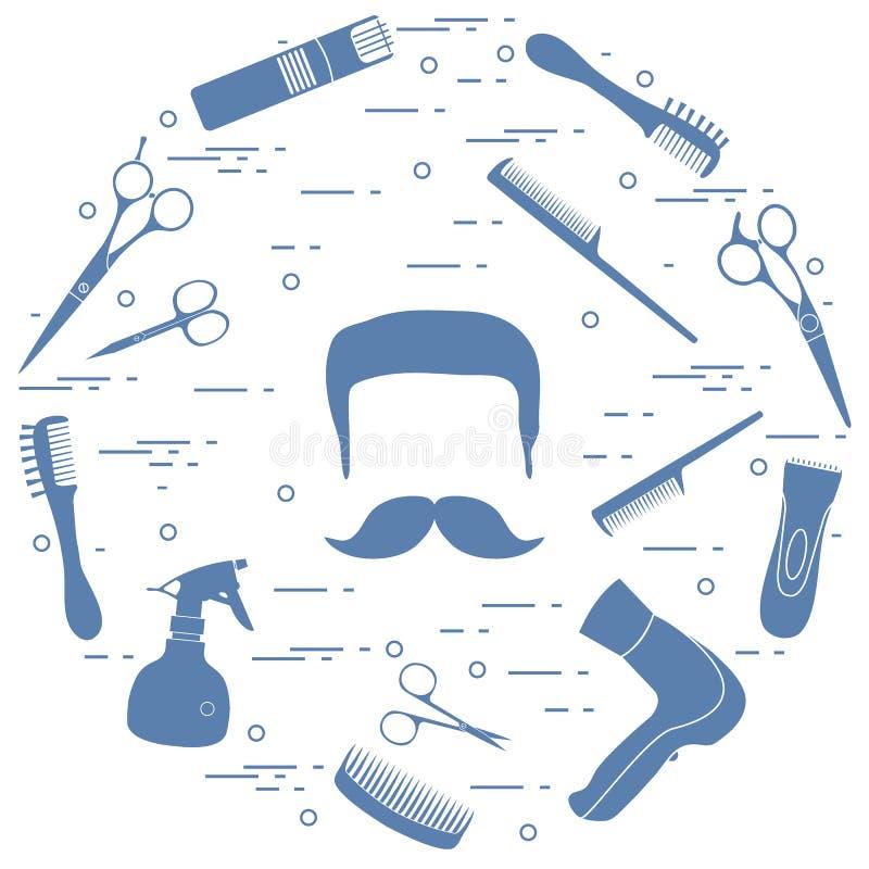 Ilustracja mężczyzna fryzury, brody i wąsy, hairdresse royalty ilustracja