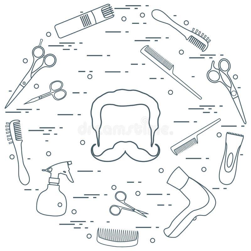 Ilustracja mężczyzna fryzury, brody i wąsy, hairdresse ilustracji