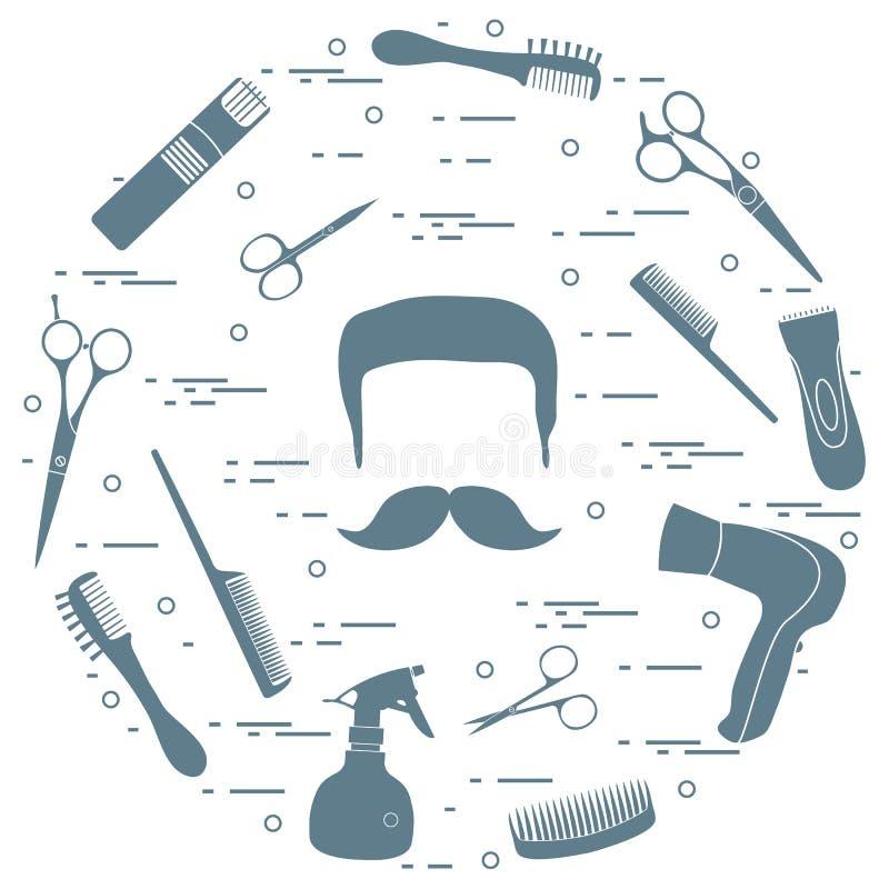 Ilustracja mężczyzna fryzury, brody i wąsy, hairdresse ilustracja wektor