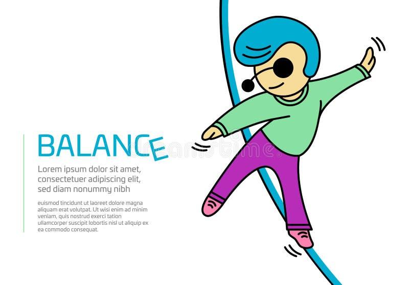 Ilustracja mężczyzna odprowadzenie na arkanie i próbować utrzymywać na równowadze ilustracji
