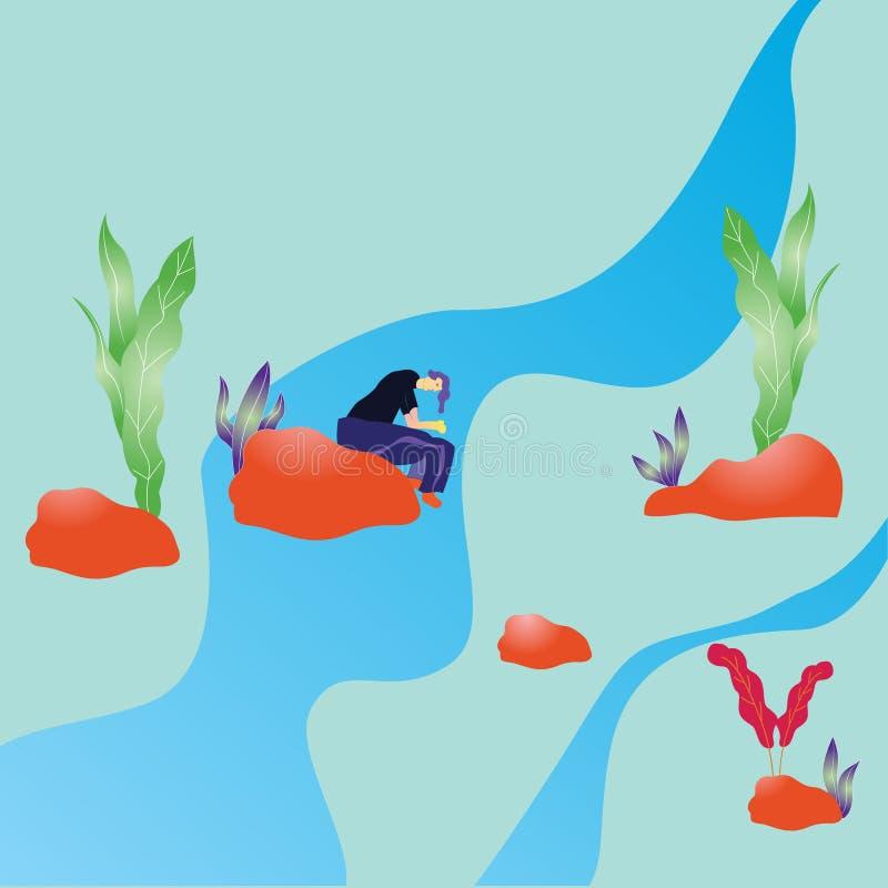 Ilustracja mężczyzna siedzi na rzece podczas gdy marzący zdjęcia royalty free