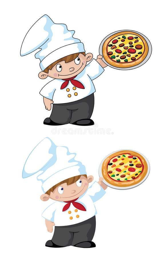 Mały kucharz z pizzą ilustracja wektor