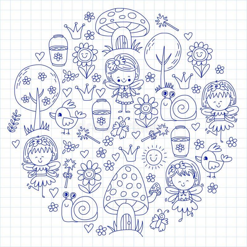 Ilustracja magiczny las z czarodziejkami Doodle wzór dla dziewczyn i dzieciniec, dziecko sklep Żartuje rysunku styl royalty ilustracja