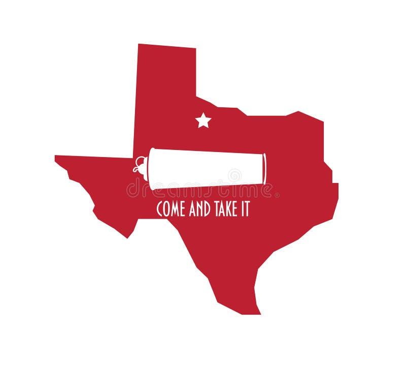 Ilustracja mapy Texas dla bitwy pod Gonzales w czasie rocznicy rewolucji w Teksasie Ikona 'Chodź' i 'Weź to' zdjęcie royalty free