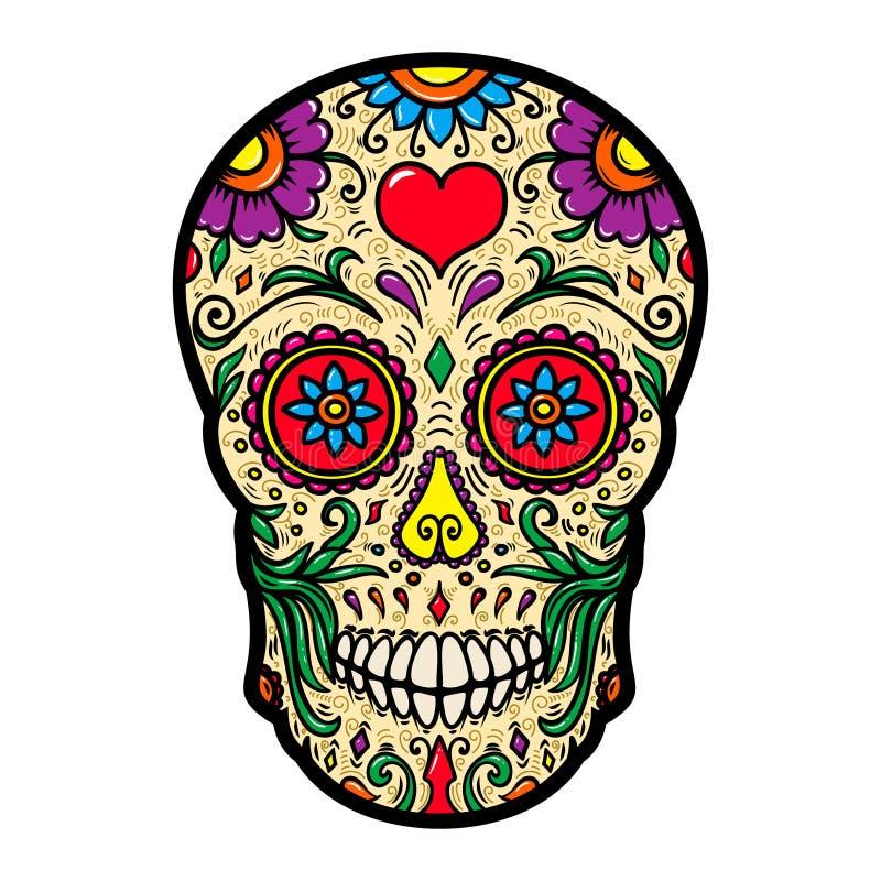 Ilustracja meksykańska cukrowa czaszka odizolowywająca na białym tle Projektuje element dla plakata, karta, t koszula royalty ilustracja