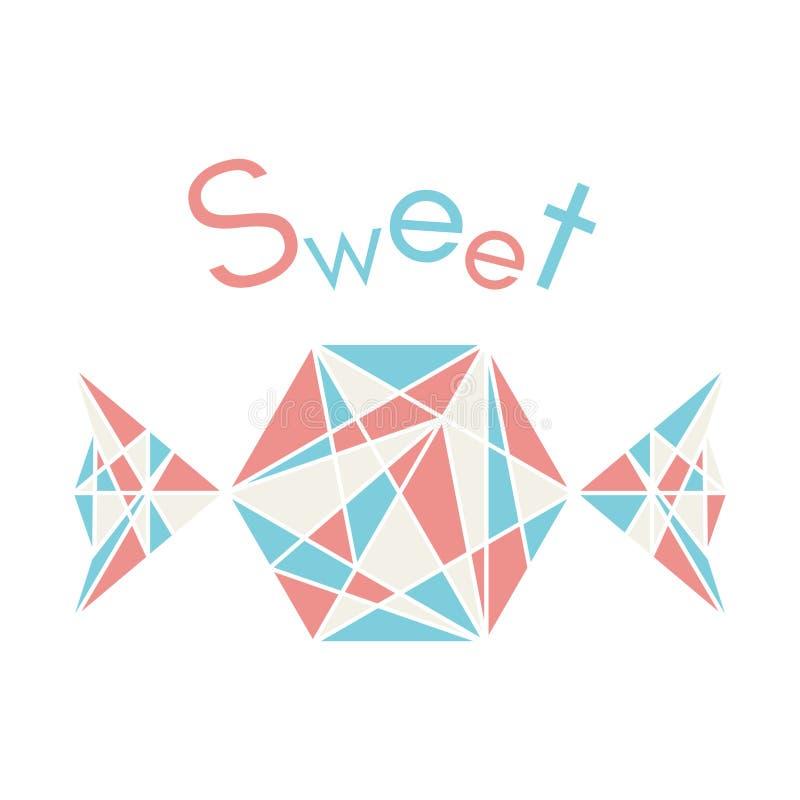 Ilustracja menchie i błękitny poligonalny origami cukierek odizolowywający na białym tle Słodka wektorowa ilustracja ilustracja wektor