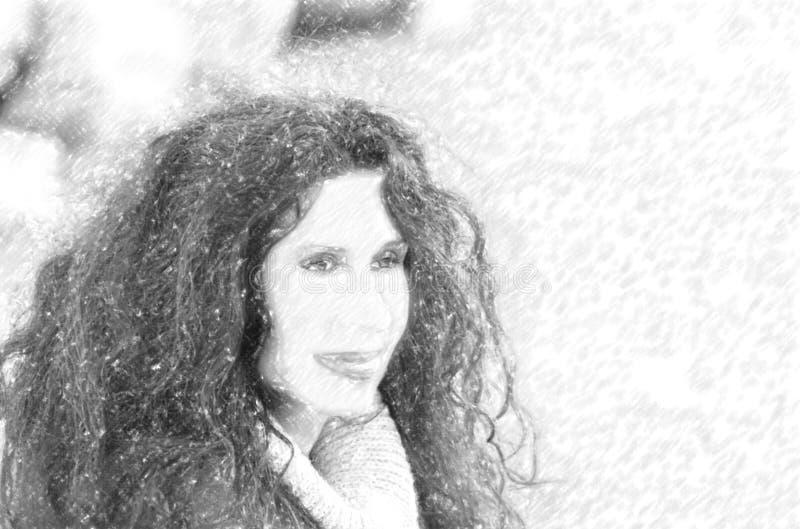 Ilustracja menopauzalny kobiety ono uśmiecha się obrazy stock
