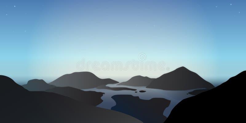 Ilustracja mglisty ranek w błękitnych górach przy jeziorną rzeką ilustracja wektor