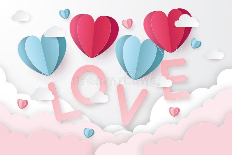 Ilustracja miłość i walentynki z serce papieru cięciem projektujemy royalty ilustracja