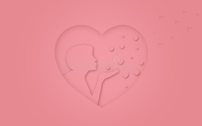 Ilustracja miłość lub walentynki Różowy serce z osoby całowaniem miłość powietrza ilustracja wektor