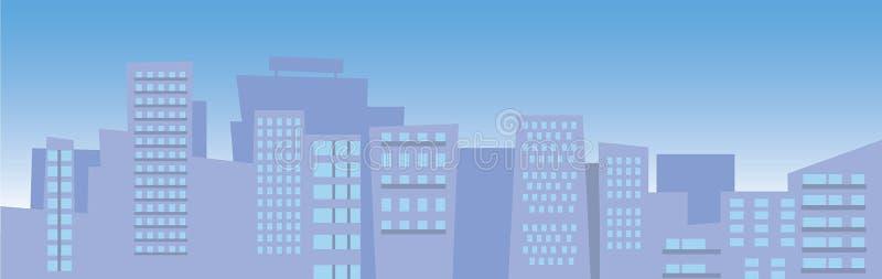 Ilustracja miasta linia horyzontu z niebieskim niebem ilustracji