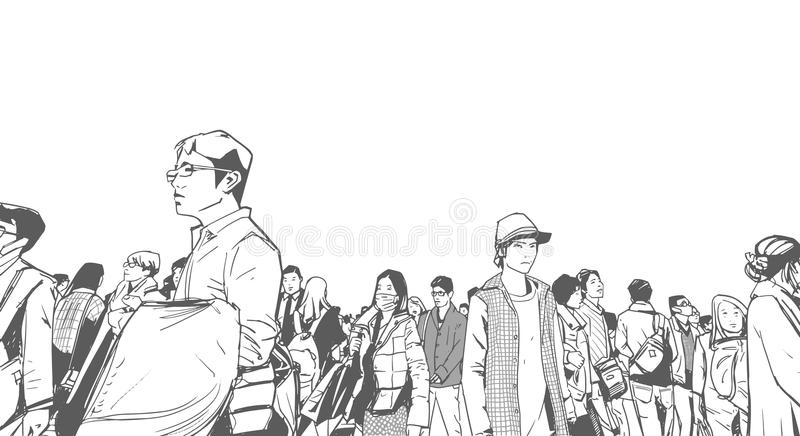 Ilustracja miastowy tłum od niskiego kąta widoku z góruje i wysoko wzrasta w tle w czarny i biały popielatej skala ilustracja wektor