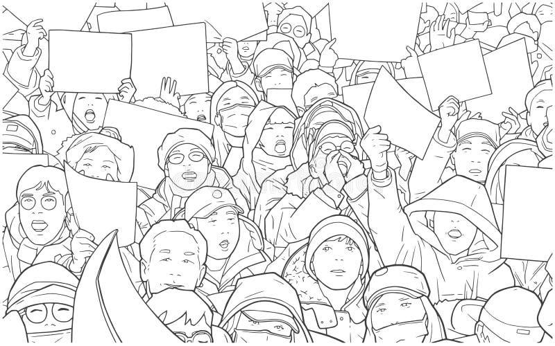Ilustracja mieszany etniczny tłum protestuje z pustymi znakami royalty ilustracja