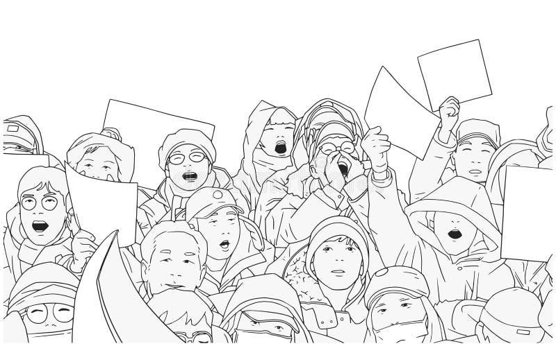 Ilustracja mieszany etniczny tłum protestuje z pustymi znakami ilustracja wektor