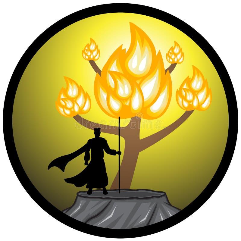 Ilustracja Mojżesz Sihouette i Płonący Bush royalty ilustracja