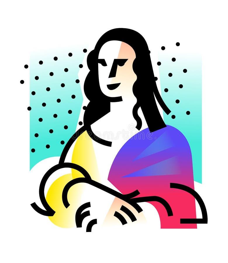Ilustracja Mona Lisa Ikona Gioconda artysty Leonardo Davinci Logo sławna praca, interpretacja Wektorowy mieszkanie ilustracji