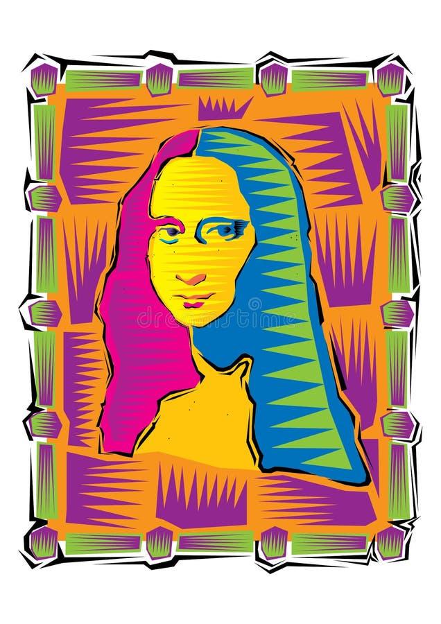 Ilustracja Mona Lisa Ikona Gioconda artysty Leonardo Davinci Logo sławna praca royalty ilustracja