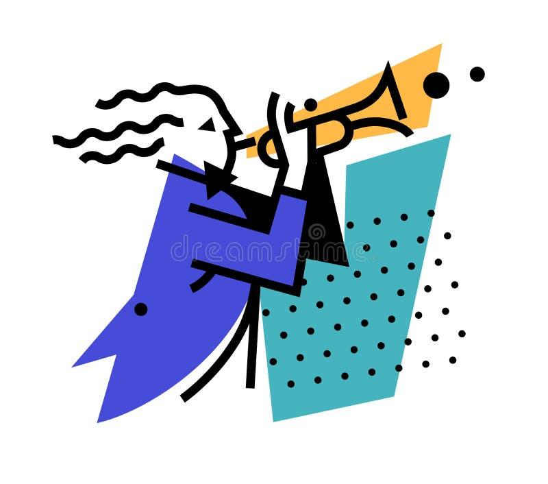 Ilustracja muzyka trąbkarz Logo bawić się na drymbie przygotowywa ikonę Logo dla jazzowej kawiarni, zespołu i orkiestry wiatr, royalty ilustracja
