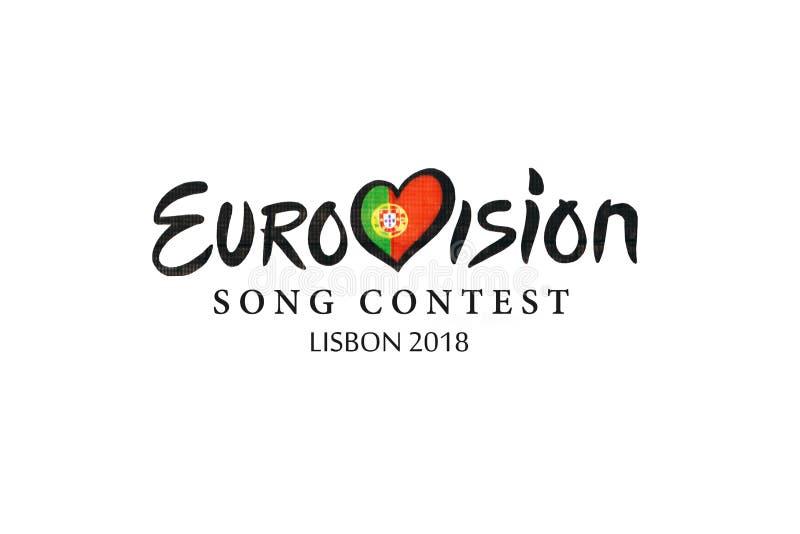 Ilustracja na białym tło Eurowizyjnej piosenki konkursie 2018 Lisbon ilustracji