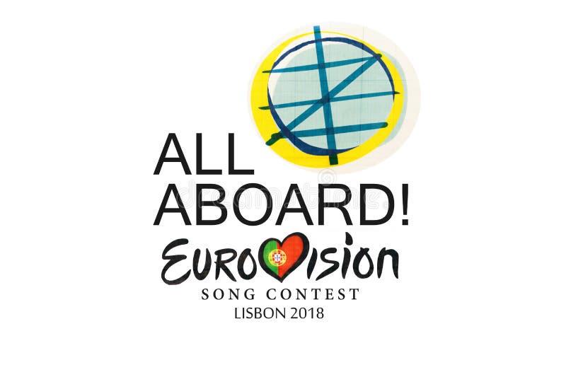 Ilustracja na białym tło Eurowizyjnej piosenki konkursie 2018 Lisbon royalty ilustracja