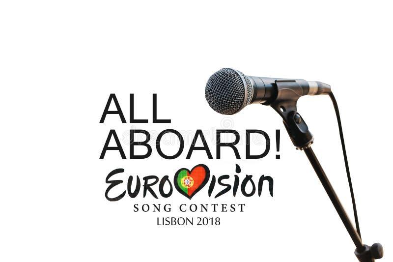 Ilustracja na białym tło Eurowizyjnej piosenki konkursie 2018 Lisbon obrazy stock