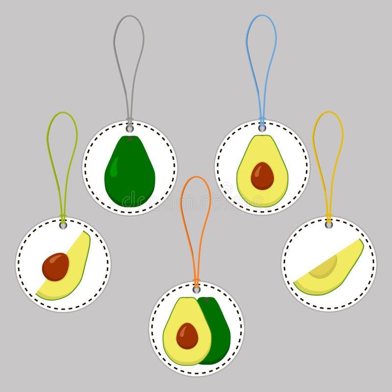 Ilustracja na tematów dużych ustalonych różnych typach round avocado royalty ilustracja