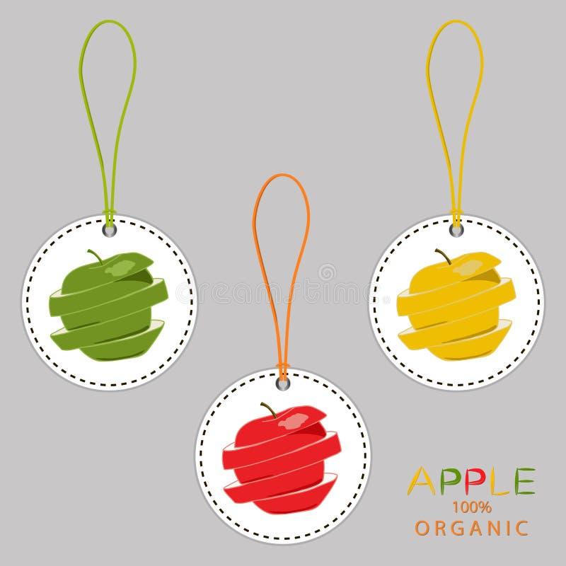 Ilustracja na tematów dużych ustalonych różnych typach round jabłka ilustracji