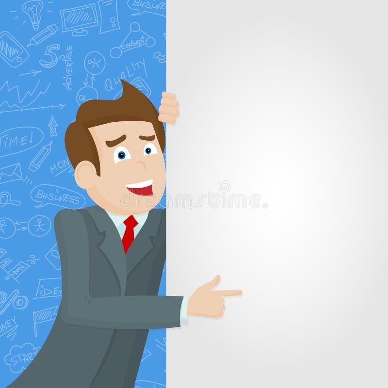Ilustracja na tematu biznesie, biznesmen wskazuje biały sztandar na błękitnym tle z ikonami ilustracja wektor