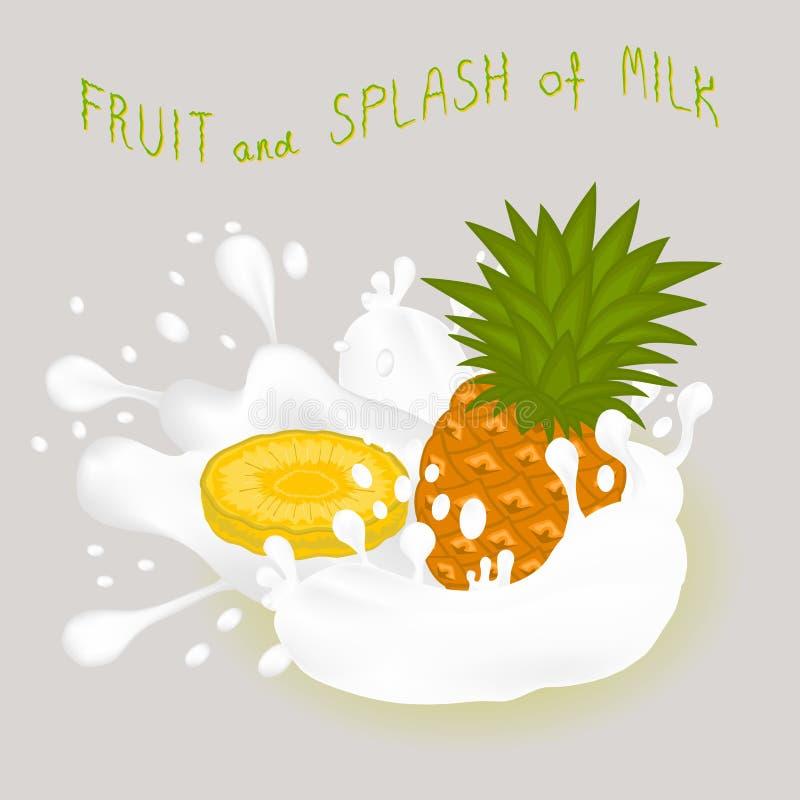 Ilustracja na tematu spada cieknącym ananasowym kapinosie przy cukierkowym krowy mlekiem royalty ilustracja