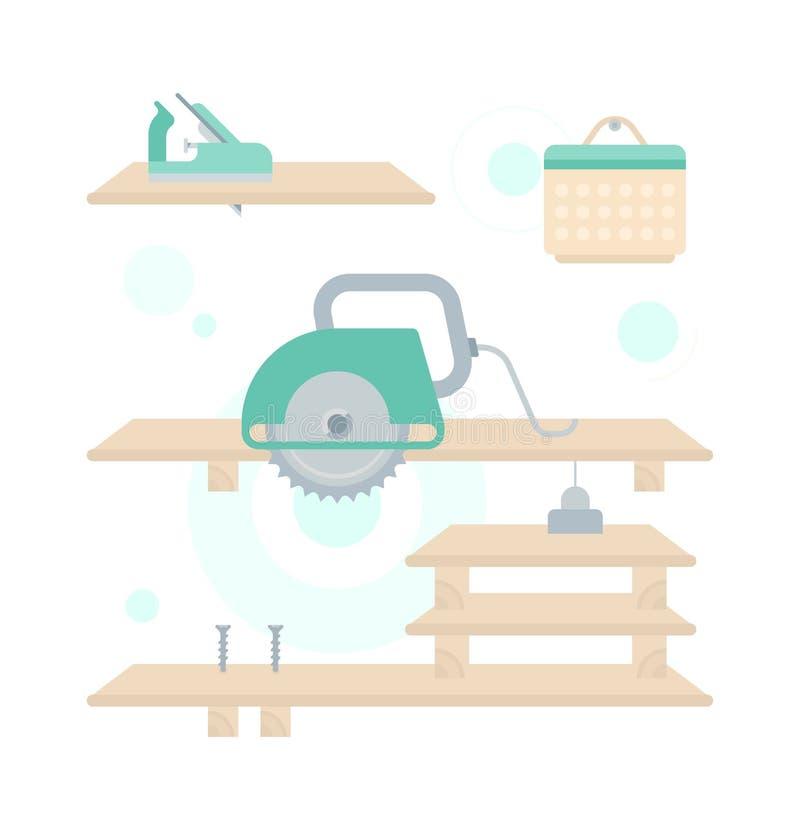 Ilustracja naprawa Drewniana półka ilustracji