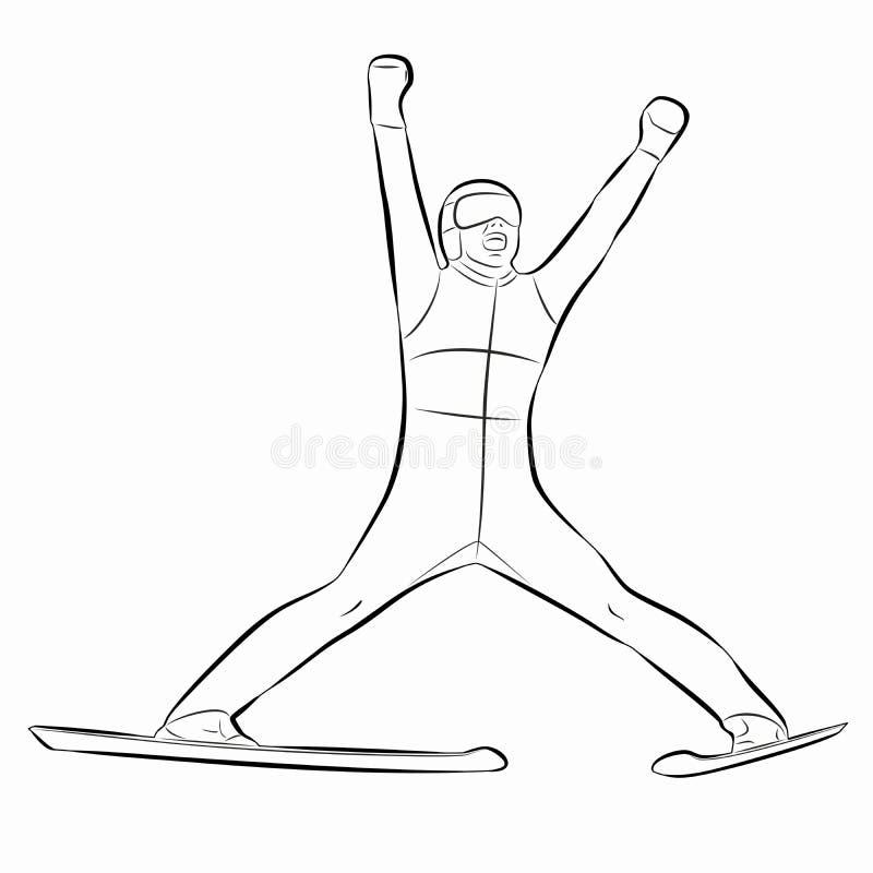 Ilustracja narciarska bluza, wektorowy remis ilustracji
