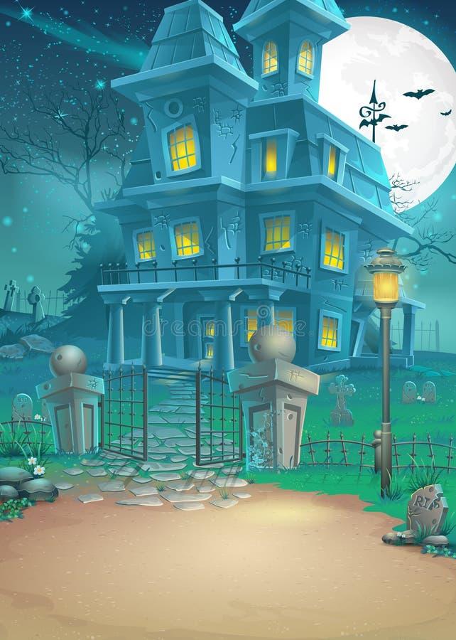 Ilustracja nawiedzający dom na moonlit nocy royalty ilustracja