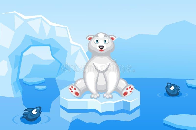 Ilustracja niedźwiedź polarny na arktycznym wektorowym tle z lodowymi floes, góry lodowa ilustracja wektor