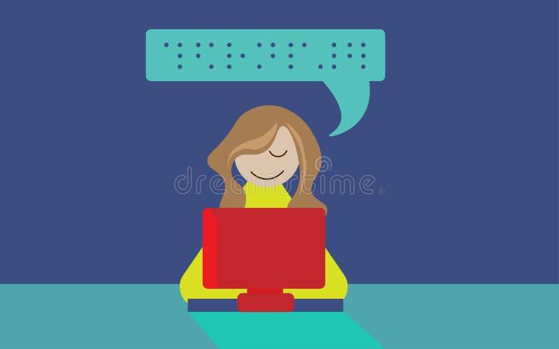 Ilustracja niewidoma osoba używa Braille komputer ilustracja wektor