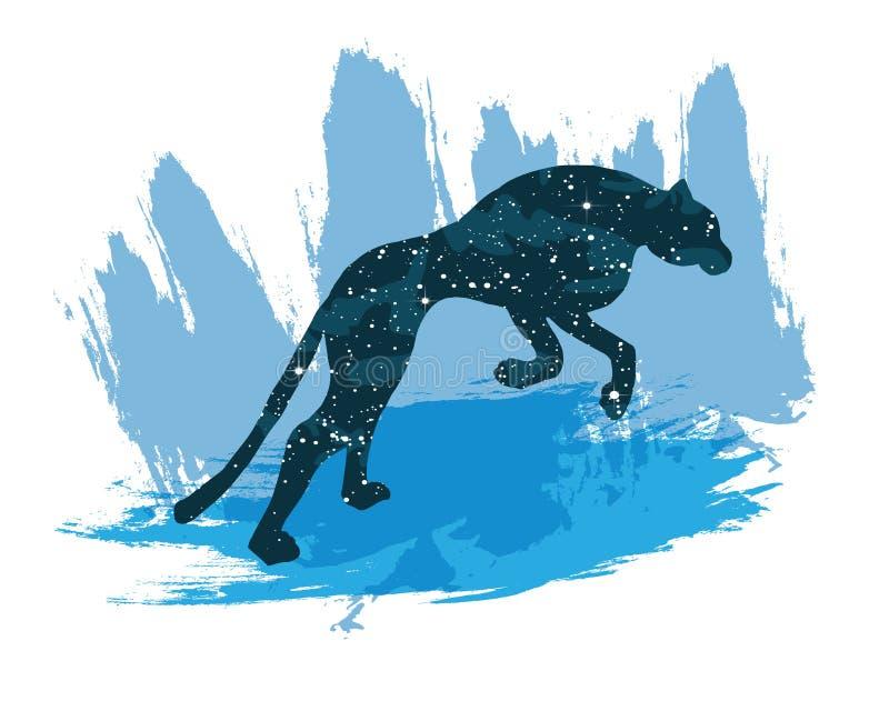 Ilustracja nocne niebo lampart Wektorowy druk odizolowywający na białym tle ilustracji