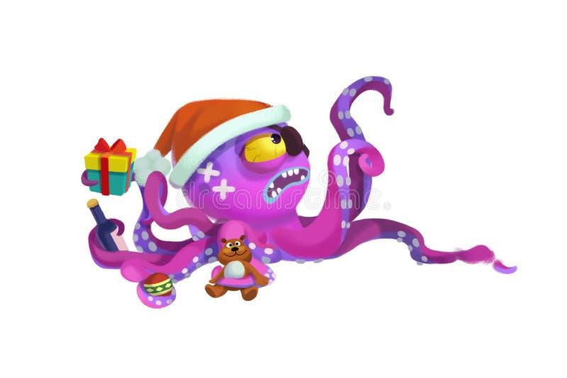 Ilustracja: Ośmiornica potwora komes życzyć Ci Wesoło boże narodzenia! ilustracji