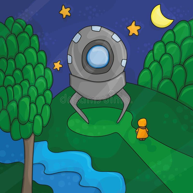 Ilustracja o noc krajobrazie, ufo elementy ilustracja wektor